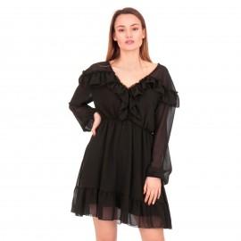 Μαύρο Mini Φόρεμα με Τούλι και Βολάν