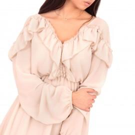 Μπεζ Mini Φόρεμα με Τούλι και Βολάν