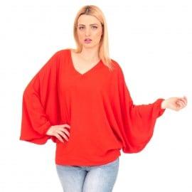 Κόκκινη Μπλούζα με Φαρδιά Μανίκια