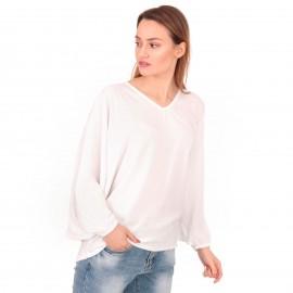 Λευκή Μπλούζα με Φαρδιά Μανίκια