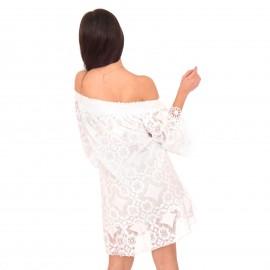 Λευκό Strapless Mini Φόρεμα με Δαντέλα