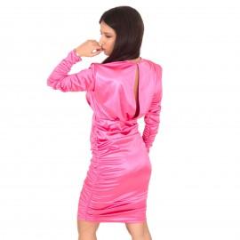 Φούξια Σατέν Mini Φόρεμα