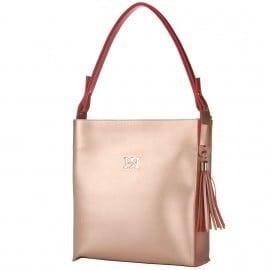 Bronze Τσάντα 'Ωμου με Κρόσσια Pierro