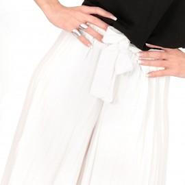 Λευκή Φαρδιά Πλισέ Παντελόνα
