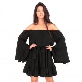 Μαύρο Strapless Mini Φόρεμα με Βολάν και Ζωνάκι