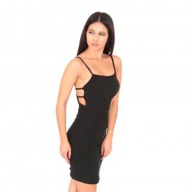 Μαύρο Ripped Αμάνικο Mini Φόρεμα με Λωρίδες στην Πλάτη
