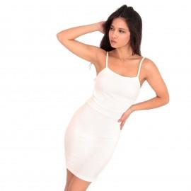 Λευκό Ripped Αμάνικο Mini Φόρεμα με Λωρίδες στην Πλάτη
