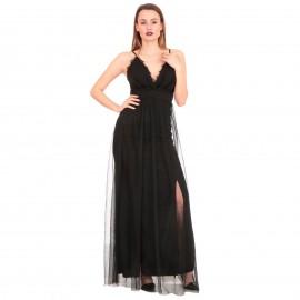 Μαύρο Maxi Φόρεμα με Τούλι και Σκίσιμο