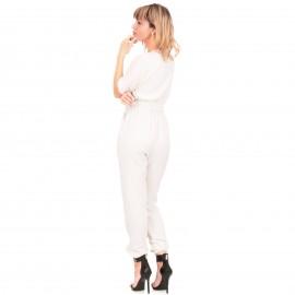 Λευκή Ολόσωμη Κρουαζέ Φόρμα με Ζώνη