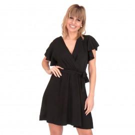 Μαύρο Κρουαζέ Μini Φόρεμα με Ζωνάκι