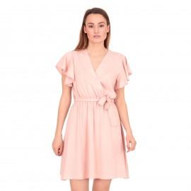 Ρόζ Κρουαζέ Μini Φόρεμα με Ζωνάκι