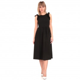 Μαύρο Midi Φόρεμα με Βολάν στα Μανίκια