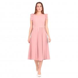 Ρόζ Midi Φόρεμα με Βολάν στα Μανίκια