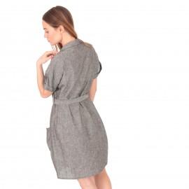 Γκρι Λινό Mini Φόρεμα με Ζωνάκι