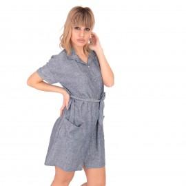 Μπλε Λινό Mini Φόρεμα με Ζωνάκι