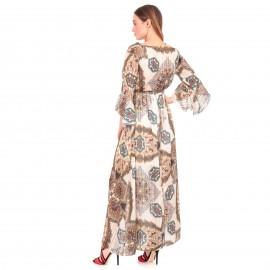 Μπεζ Πλισέ Maxi Φόρεμα με Σχέδια