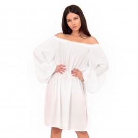 Λευκό Off Shoulder Midi Φόρεμα