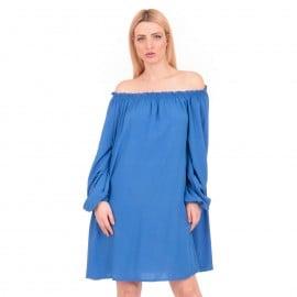 Μπλε Ρουά Off Shoulder Midi Φόρεμα