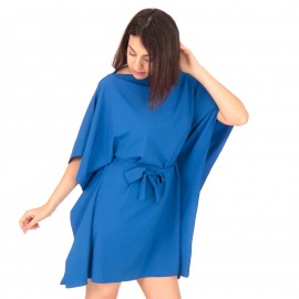 Μπλε Ρουά Mini Φόρεμα με Ζωνάκι