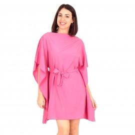 Φούξια Mini Φόρεμα με Ζωνάκι