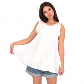 Λευκή Μπλούζα με Βολάν στα Μανίκια