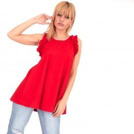 Κόκκινη Μπλούζα με Βολάν στα Μανίκια