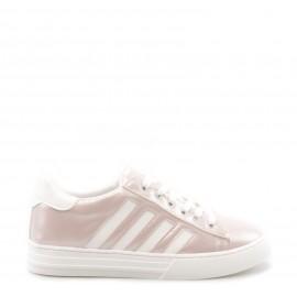 Χάλκινα Δετά Sneakers με Λευκές Λεπτομέρειες
