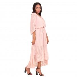Ρόζ Maxi Κρουαζέ Φόρεμα