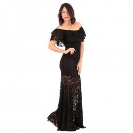 Μαύρο Strapless Maxi Φόρεμα με Δαντέλα και Βολάν