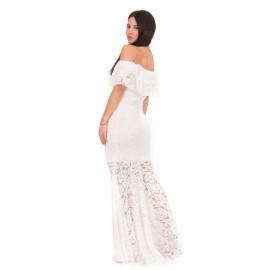 Λευκό Strapless Maxi Φόρεμα με Δαντέλα και Βολάν