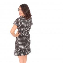 Μαύρο Πουά Mini Φόρεμα με  Βολάν