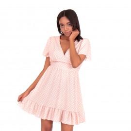 Ρόζ Πουά Mini Φόρεμα με  Βολάν