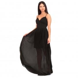 Μαύρο Αμάνικο Πλισέ Maxi Φόρεμα