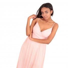 Ρόζ Αμάνικο Πλισέ Maxi Φόρεμα