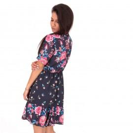 Μπλε Φλοράλ Mini Φόρεμα με Φιόγκο
