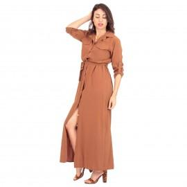 Camel Maxi Φόρεμα με Τσέπες και Κουμπιά