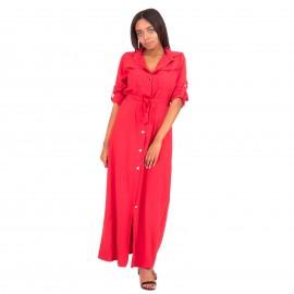 Κόκκινο Maxi Φόρεμα με Τσέπες και Κουμπιά