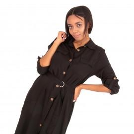 Μαύρο Midi Φόρεμα με Κουμπιά και Σκίσιμο στο Πλάι