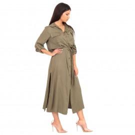 Χακί Midi Φόρεμα με Κουμπιά και Σκίσιμο στο Πλάι