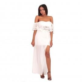 Λευκό Σετ Maxi Φούστα με Σκίσιμο και Off Shoulder Τοπ