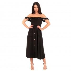 Μαύρο Strapless Maxi Φόρεμα με Βολάν