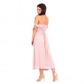 Ρόζ Strapless Maxi Φόρεμα με Βολάν