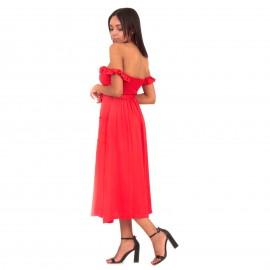 Κόκκινο Strapless Maxi Φόρεμα με Βολάν