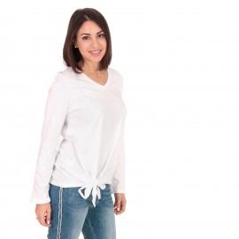 Λευκή Μακρυμάνικη Μπλούζα με Φιόγκο