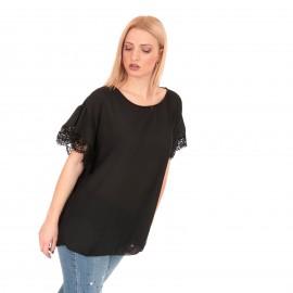 Μαύρη Μπλούζα με Δαντέλα στο Μανίκι