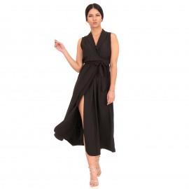 Μαύρο Midi Φόρεμα με Ζωνάκι και Σκίσιμο στο Πλάι