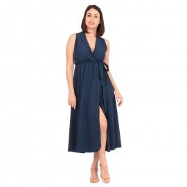 Μπλε Midi Φόρεμα με Ζωνάκι και Σκίσιμο στο Πλάι
