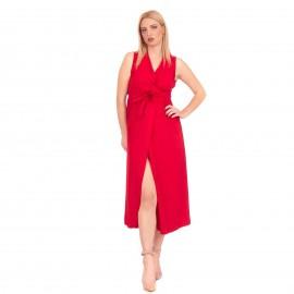Κόκκινο Midi Φόρεμα με Ζωνάκι και Σκίσιμο στο Πλάι