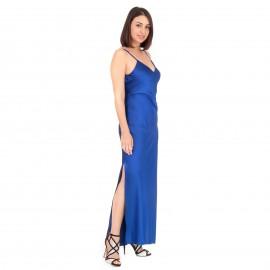 Μπλε Ρουά Σατέν Maxi Φόρεμα
