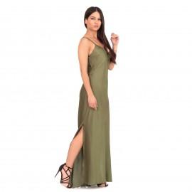 Χακί Σατέν Maxi Φόρεμα